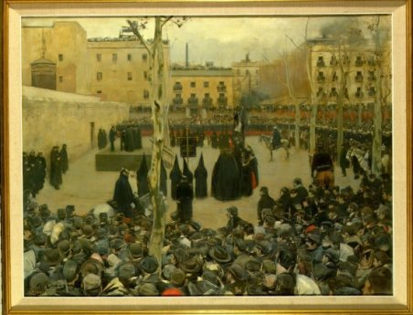 Garrote vil (Garrotte) Ramón Casas i Carbó Barcelona, Spain, 1866 - 1932 Date: 1894 Technique: Oil on canvas Dimensions: 127 x 166 cm Category: Painting Entry date: 1895 Register number: AS11076 On display in: Room 201 Ramón Casas had already practised the representation of crowd scenes in the 1880s, in works like Entrada a la plaza de toros de Madrid (Entrance to the Madrid Bullring) and Las regattas (Regattas). After a period dominated by his portrait and nude paintings, he returned to the subject of crowd scenes, among which Garrote vil (Garrotte) holds a preeminent position. Casas himself was present at the scene of this execution in Barcelona in 1893, but when he turned it into a painting, rather than dwell on the morbid aspects inherent in the theme, he emphasized the journalistic reportage side of the event. Casas did two preparatory studies for this work, in which the industrial chimneys of Barcelona can be seen in the background. The main motif is the crowd, who are depicted from a raised viewpoint, gathered around the scaffold, on which stand the executioner, the condemned man and the priests. Also present are the Cofrades de la Sangre (the Confraternity of the Blood of Christ) in their characteristic pointed hoods. Between the condemned man and the waiting crowd, Casas leaves an empty space, which adds to the drama and tension hanging over the scene's main group.