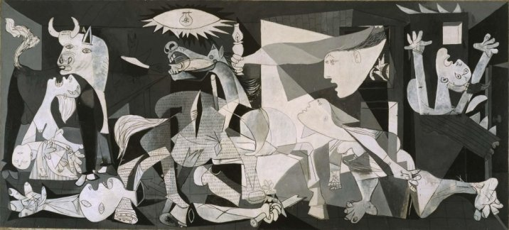 """Guernica Pablo Picasso (Pablo Ruiz Picasso) Malaga, Spain, 1881 - Mougins, France, 1973 Date: 1937 (May 1st-June 4th, Paris) Technique: Oil on canvas Dimensions: 349,3 x 776,6 cm Category: Painting Entry date: 1992 Observations: The government of the Spanish Republic acquired the mural """"Guernica"""" from Picasso in 1937. When World War II broke out, the artist decided that the painting should remain in the custody of New York's Museum of Modern Art for safekeeping until the conflict ended. In 1958 Picasso extended the loan of the painting to MoMA for an indefinite period, until such time that democracy had been restored in Spain. The work finally returned to this country in 1981. Register number: DE00050 On display in: Room 206.06 An accurate depiction of a cruel, dramatic situation, Guernica was created to be part of the Spanish Pavilion at the International Exposition in Paris in 1937. Pablo Picasso's motivation for painting the scene in this great work was the news of the German aerial bombing of the Basque town whose name the piece bears, which the artist had seen in the dramatic photographs published in various periodicals, including the French newspaper L'Humanité. Despite that, neither the studies nor the finished picture contain a single allusion to a specific event, constituting instead a generic plea against the barbarity and terror of war. The huge picture is conceived as a giant poster, testimony to the horror that the Spanish Civil War was causing and a forewarning of what was to come in the Second World War. The muted colours, the intensity of each and every one of the motifs and the way they are articulated are all essential to the extreme tragedy of the scene, which would become the emblem for all the devastating tragedies of modern society. Guernica has attracted a number of controversial interpretations, doubtless due in part to the deliberate use in the painting of only greyish tones. Analysing the iconography in the painting, one Guernica scholar, A"""