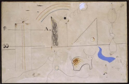 """Pastorale (Pastoral) Joan Miró Barcelona, Spain, 1893 - Palma de Mallorca, Spain, 1983 From 1923-1924, Joan Miró moved away from the precision of what is known as his """"detailistic phase"""", in order to radically change the direction of his output, pushing it more towards the proposals of Dadaism and Surrealism. The creative freedom that came with his new pictorial approach led him to experiment with a new language, the starting point of which was that most authentic of Surrealist procedures, Automatism. The sign is dissolved in the imaginary space to an extent that touches abstraction, while swirls, dotted lines and loose strokes arise out of the sparsely covered, pale background – a background which constituted the identifying sign for all his paintings of the time. The images that were so recognisable before have almost completely disappeared, making way for a different kind of representation, the ideographic language which would, from this point on, identify Miró's work. The elements that define Miró's mature output – structure, form, colour, rhythm – can already be seen in the work done in this decade, which would have a decisive effect on the evolution of Miró's plastic poetics, as Pastorale (Pastoral) shows."""