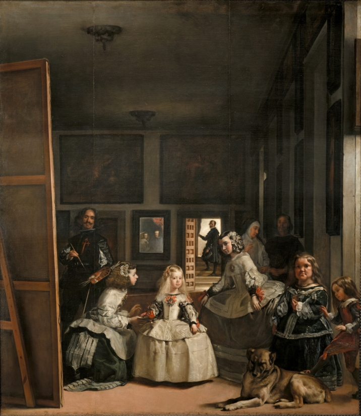 Las Meninas, Diego Rodríguez de Silva y Velázquez Velázquez is the painter to the left. The royal couple whom he is painting are reflected in the mirror at the back of the room. The five year old royal daughter is being attended to. Velázquez is wearing the insignia on his chest of a prestigious group (Order of Santiago) to which he was appointed two years after the painting was completed. Maybe the king himself added this to the painting.