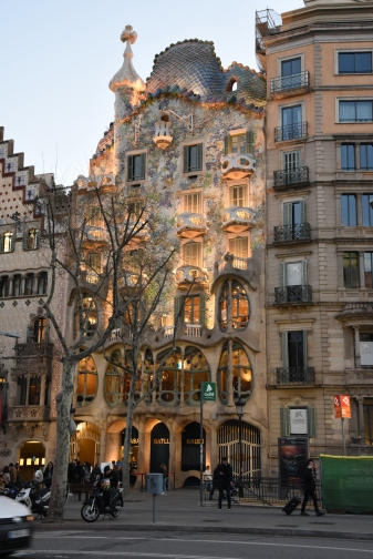 An apartment building by Antoni Gaudi.