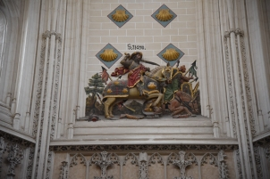 St. James (Santiago) on horseback leading the reconquest.