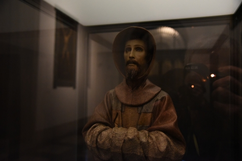 A carving of St Francis in the Sacristy.