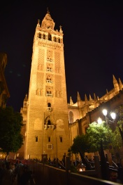 La Giralda, the iconic tower of the cathedral, originally a minaret in the mosque there.