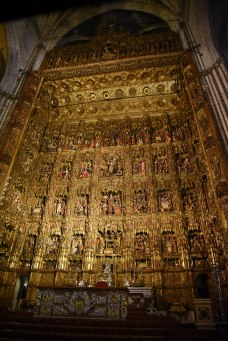 The high altar is 65 feet tall, with 44 scenes from the life of Jesus.
