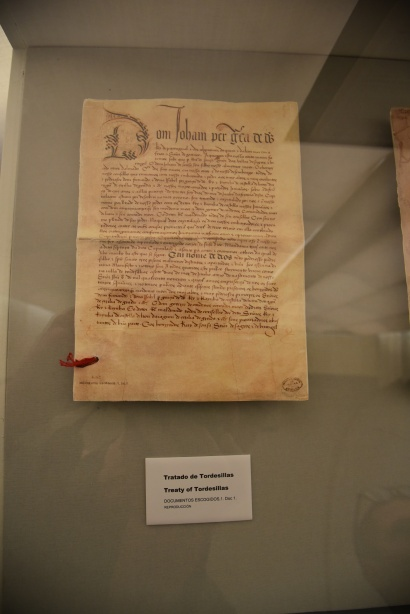 The Treaty of Tordisillas, in which the pope gave Brazil to Portugal and pretty much the rest of South America to the Spanish in 1494.