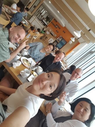 Lunch with Minjeong, Seohyung, David, and Christian.